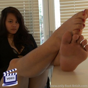 Julia shows her foot and toes
